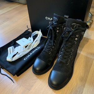 SOLD Chanel Black Leather Suede Combat Lace Boots